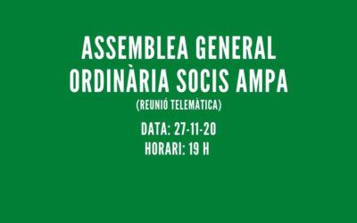 ASSEMBLEA GENERAL ORDINÀRIA SOCIS AMPA CURS 2020-2021
